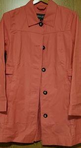 Eddie Bauer pink coral trench coat jacket Sz M